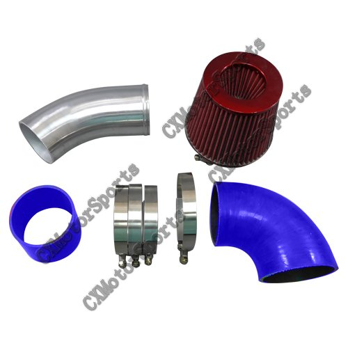 """Ls1 Intake Flow Numbers: Universal 3.5"""" NA Air Intake Pipe Kit Blue Hoses For GM"""