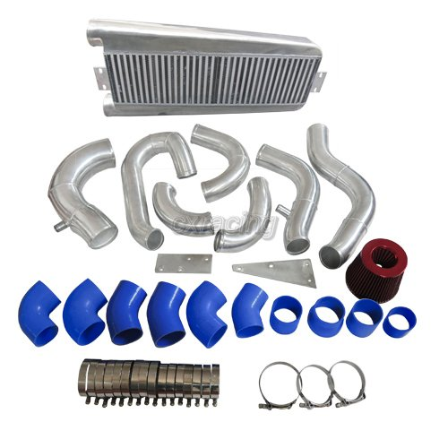 Vortech V3 Supercharger Intercooler: CXRacing Intercooler Piping Kit +Intake Filter For 87-93