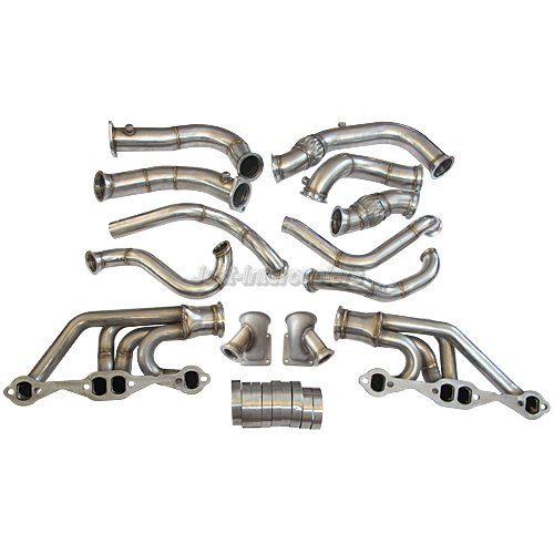 CXRacing Twin Turbo Header + Downpipe Kit For 63-67